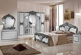 la cassettiera Lo Specchio Il Letto 160//200 i 2 comodini LIGNEMEUBLE Teva Lacca Beige Nuvola Camera da Letto Barocco: larmadio a 6 Porte