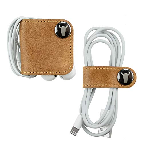 TORRO Genuine Leather Cable And Headphone Organiser (Pack of 2 Tan)