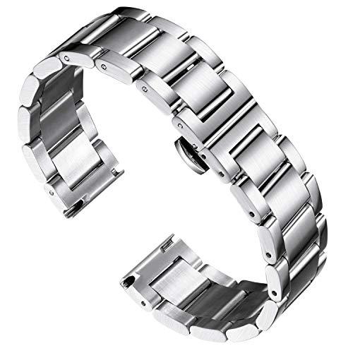 Banda de reloj de acero inoxidable gruesa Metal Reloj pesado Pulseras pulidas mate Cepillado Acabado Reloj Reloj Reemplazo para hombres Mujeres 16mm / 18mm / 20mm / 21mm / 22mm / 23mm / 24mm / 26mm co