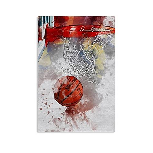 LOPOA Póster decorativo de baloncesto, lienzo para pared, salón, dormitorio, 50 x 75 cm