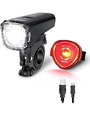 OMERIL LED Fahrradlicht Set Fahrradbeleuchtung STVZO Zugelassen Fahrradlampe USB Aufladbar und Wasserdicht Fahrrad Licht mit Frontlicht und Rücklicht (Rotlicht). Sturdy & Duragable