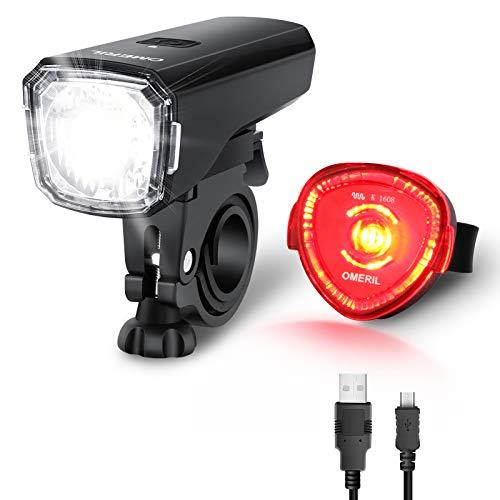 LED Fahrradlicht Set OMERIL Fahrradbeleuchtung STVZO Zugelassen Fahrradlampe USB Aufladbar und Wasserdicht Fahrrad Licht mit Frontlicht und Rücklicht (Rotlicht). Sturdy & Duragable (1 modi / ABS)