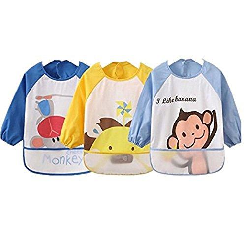 Oral-Q Unisex Kinderen Kinderen Babys Arts Craft Schilderen Schort Baby Waterdichte Bibs met Mouwen & Zak, 6-36 Maanden, Set van 3 (2 Blauw/1 Geel)