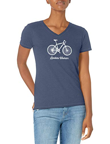 Life Is Good T-Shirt pour Femme Crusher Vee Spokes Woman Crusher T-Shirt à col en V Taille XXXL Rayons Bleu foncé