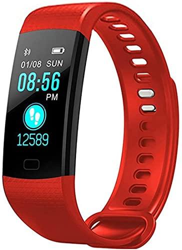 Rastreador de fitness, actividad impermeable, con ritmo cardíaco y monitor de presión arterial, con contador de calorías de seguimiento de sueño (rojo)