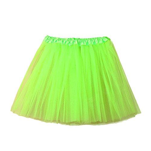Electri Tüllrock, für Erwachsene, Tutu, Damen, hohe Qualität, Gaze, Plissee, kurz, Plissee, Rock, kurz, Tutu Tanz, Erwachsene, Farbe Petticoat, Ballett-Tanz Taille unique grün