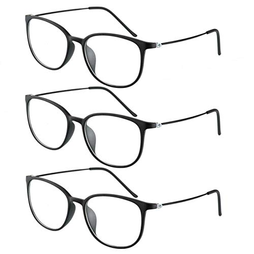 FXYY Pop 3er-Pack Lesebrille Gleitsichtbrille Damen Herren Dioptrien 1.0 1.5 2.0 2.5 3.0 Retro Runde Gleitsichtgläser Nerdbrille Multifokal Lesebrillen Computer Lesehilfe Progressiven Brille