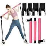 Pilates Exercise Stick Kit with 4 (2 Strong & 2 Standard) Resistance Bands,Portable Compact 3-Section Yoga Resistance Bands for Legs and Butt, Pilates Bar with Foot Strap for Full Body Workout(Pink)