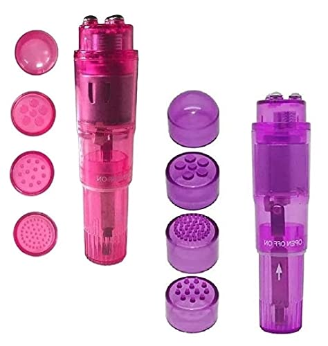 Finever Mini Wand Massager Handheld with 4 Heads Pocket Pen for Body, Face, Neck, Head,Back (Pink and Purple)