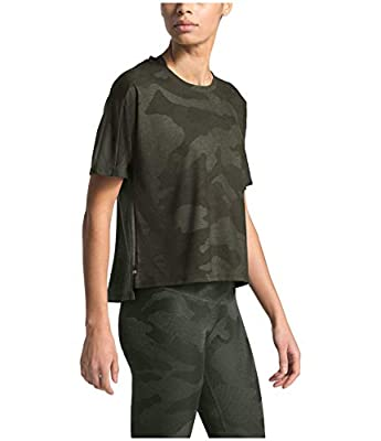 The North Face Women's Workout Novelty Short Sleeve, New Taupe Green Waxed Camo Print, M