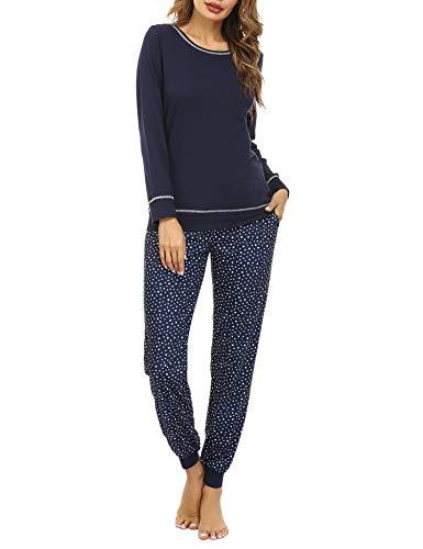 Pijama de 95/% Algodon de Largo Hawiton Pijamas para Mujer Invierno c/ómodo Camiseta a Rayas y Pantalones de Color Puro con cord/ón y Bolsillos Ropa de Dormir 2 Piezas