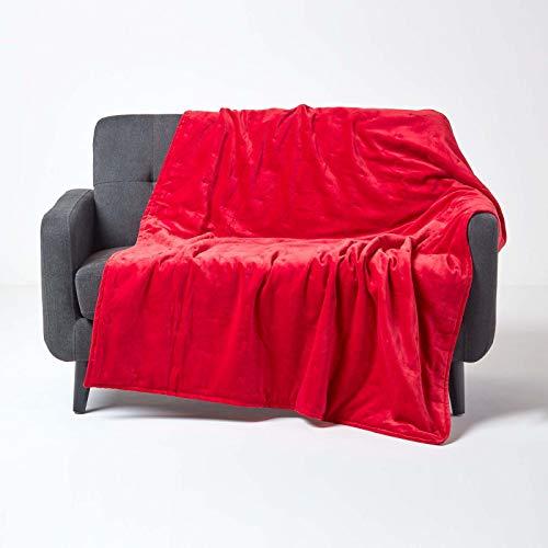 Homescapes, coperta di lusso in velluto rosso super morbido e spesso cotone con pois ricamati a mano e trapuntatura spessa, copriletto reversibile accogliente e caldo, 125 x 150 cm