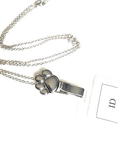 Itsalotalike Paw Print Lanyard Badge Id Holder Silver Tone Neck Lanyard