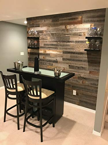 Real Weathered Wood Planks Walls - Rustic Reclaimed barn Wood Paneling Accent Walls, Easy Nail up Application (10 square feet)