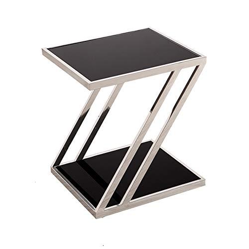 KXDLR Z Shape Side End Table, 2 Tier Sofa Tafel voor Koffie Laptop, met RVS en Gehard Glas voor Woonkamer, Slaapkamer