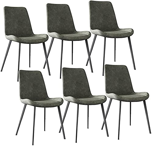 JFIA65A Juego de 6 sillas de comedor modernas con patas de metal, asiento y respaldo de piel sintética de poliuretano, sillas de cocina, sillas de salón y de esquina (color: gris claro)