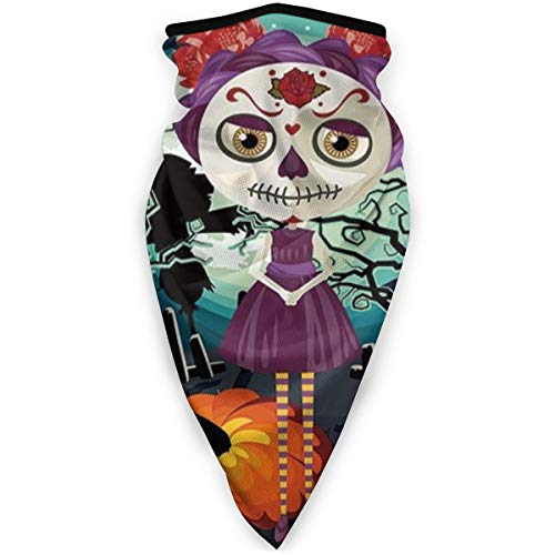 Face Scarf Cartoon Girl with Sugar Skull Makeup Retro Seasonal Artwork Swirled Trees Boo Multifunctional Bandanas
