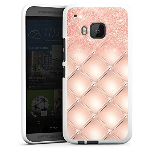 DeinDesign Silikon Hülle kompatibel mit HTC One M9 Case weiß Handyhülle rosa Glitzer Look Art
