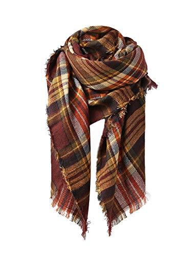 Trendy Women's Cozy Warm Winter Fall Blanket Scarf Stylish Soft Chunky Checked Giant Scarves Shawl Cape Coffee Warm