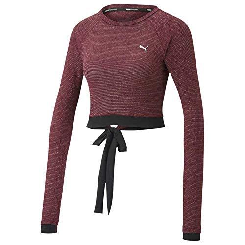 PUMA Studio Metallic LS Top Camiseta, Mujer, Burgundy, XL