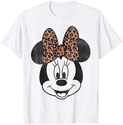 Disney Minnie Mouse Leapord Print Bow Portrait T Shirt product image
