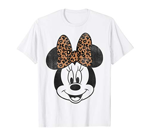 Disney Mickey And Friends Minnie Mouse Leopard Bow Portrait T-Shirt