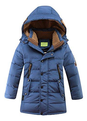 Jungen Winterjacke für Kinder kälteschutz lange Jacke mit abnehmbar Kapuze Blau in 140