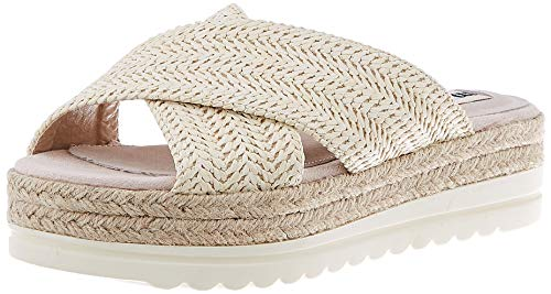 MTNG Collection Damen 58722 Plateausandalen, Weiß (Raffia White Blanco C49357), 39 EU