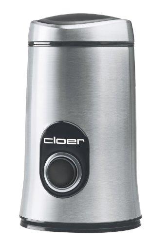 Cloer 7579 Elektrische Kaffeemühle / 150 W / für 50 g Kaffeebohnen / mattiertes Edelstahlgehäuse