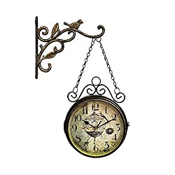 Vintage Retro Double Sided Wall Clock with Mounting Bracket for Indoor Décor, Iron Metal Silent Quiet NonTicking Clock, Brown 8 Inches (A)