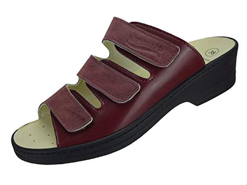 Algemare Damen Pantolette Rosso Veluret Keilpantolette mit Sani-pur Wechselfußbett Made in Germany 12382_5157 Fußbettpantolette, Größe:42 EU