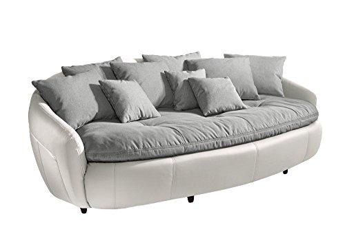 Mivano Megasofa Aruba / Großes Big Sofa mit Kissen / 238 x 80 x 140 / Materialmix Weiß-Grau