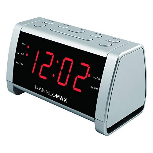 "HANNLOMAX HX-138CR Alarm Clock Radio, PLL AM/FM Radio with Preset Radio, 1.4"" Red LED Display, Dual Alarm (Silver)"