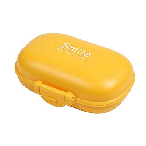 Pocket Pill Organizer Box Case 4 Compartments Medicine Storage Container Orange