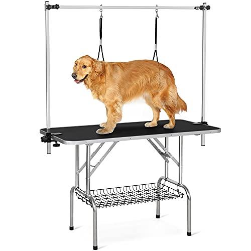 Yaheetech Höhenverstellbar Trimmtisch für Hunde groß, Schertisch mit 2 Galgen, Badezubehör für Hunde, Hundepflegetisch klappbar - 118 x 60 x 177 cm (L x B x H) - Kratzfest, max. Tragelast 120 kg