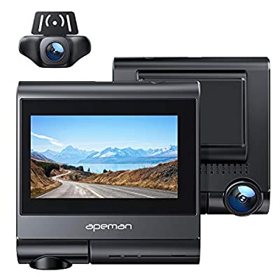 APEMAN Dual Dash Cam Built-in GPS, Wi-Fi, Touch Screen, 1920x1080P Front and Rear Car Camera, 2160P Single Front, with Parking Mode, Motion Detection, Night Vision, Support 128GB Max