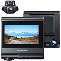 Apeman 4K Dual Dash Cam with OLED Touch Screen, Built-in GPS, Wi-Fi, Front and Rear Dual Dash Backup Camera for Cars