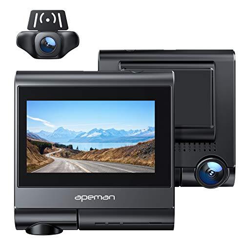 APEMAN 4K Dashcam mit GPS & Wi-Fi, 1920x1080P Vorne und Hinten mit Touchscreen, Dual 170° Weitwinkel Autokamera mit Super Nachtsicht, Bewegungserkennung, WDR