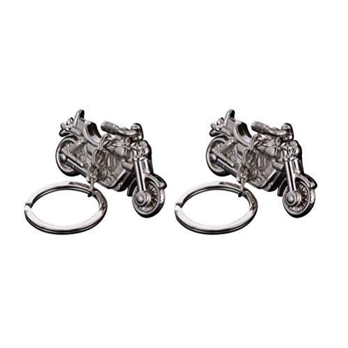 SUPVOX 2 piezas motocicleta moto llavero llavero anillo llavero calle bicicleta llavero para adultos niños (plata)