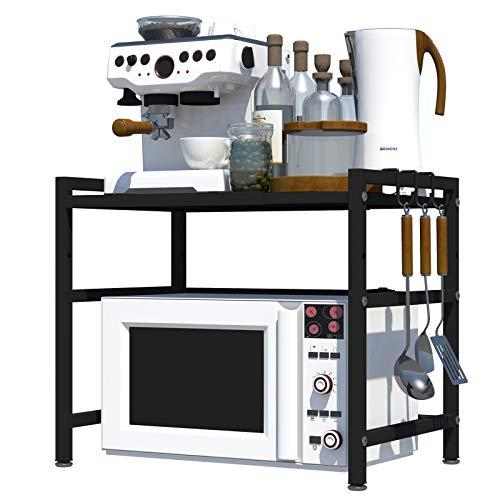 CM67 Estante para Horno de Acero al Carbono, Mueble microondas, Estantes de Acero Inoxidable Cocina, Soportes Organizador Multiuso Especia, Contador Gabinete Metálico Marco