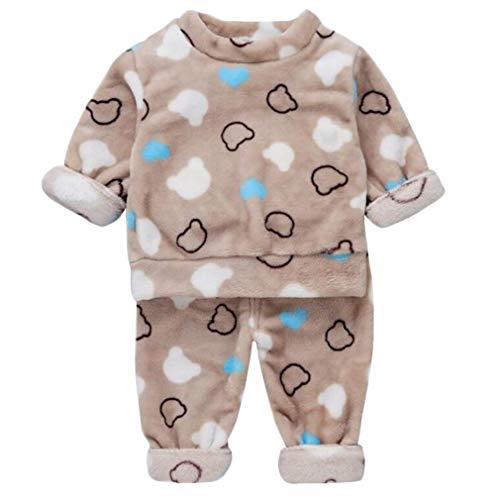 DEBAIJIA Bebé Ropa de Casa 0-5T Infantil Homewear Niños Pijama Niña Ropa de Dormir Niño Camisones Invierno Franela Calentar (Caqui-80)
