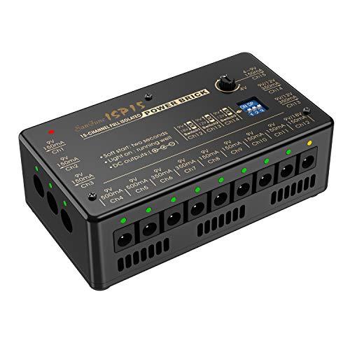 SanJune Guitar Pedal Power Supply 15 DC Outputs Fully Isolated for 9V/12V/18V Effect Pedal (4V to 9V Adjustable)