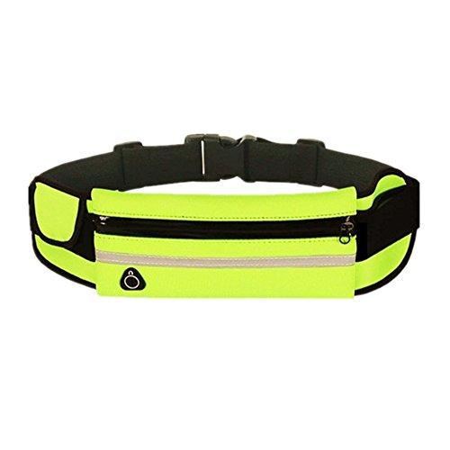 Gespout Riñonera Cinturón Teléfono Deportes Deportiva Running Belt para Hombre Mujer Cinturón Seguridad Impermeable Caminar Trotar Senderismo Ajustable 20 * 9cm Verde 1pcs