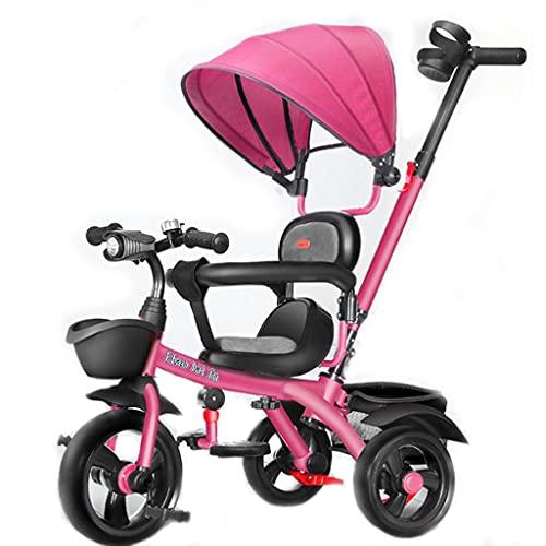 Triciclo para Niños Triciclo Para Niños Pequeños, Triciclo De Triciclo Con Triciclo De 5 En-1 Con Dosel Y Cesta De Almacenamiento Ajustable, Paseador De Triciclo De Pedal Plegable Para(Color:Rosa)