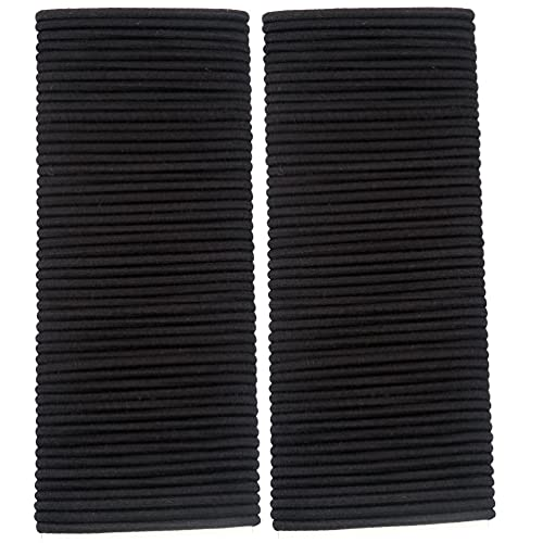 Hair Elastic Ties, 100 Pieces Black Hair Ties for Thick and Curly Hair No Metal Hair Elastic Band for Women or Men 4MM