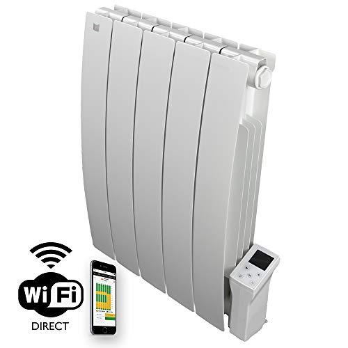 Deltacalor Elektrische radiator Smart Wi-Fi, warm 900W, thermoconvector, wand, laag stroomverbruik met digitale thermostaat, ruimteverwarming tot 10 m², aluminium, wit