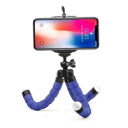 Flexible Sponge Octopus Tripod for iPhone Samsung Xiaomi Huawei Mobile Phone Smartphone Tripod for Camera Accessory (Blue)