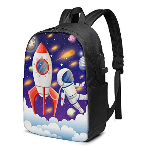 AOOEDM Universe Astronaut Rocket Galaxy Printed Travel Lightweight Backpack with USB Charging Port and Headphone Port