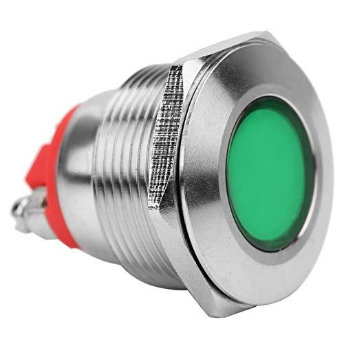 Luz niquelada impermeable de 22 mm para automóvil para modificación de host(24V, green)