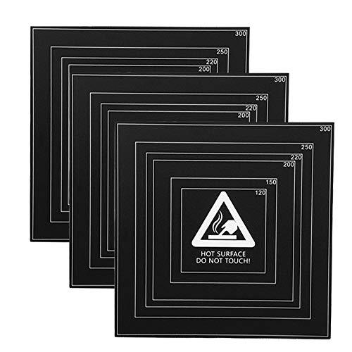 HzdaDeve Para superficies de edificios de impresora 3D, placa de construcción, 310 x 310 mm, adhesivo 3M, color negro